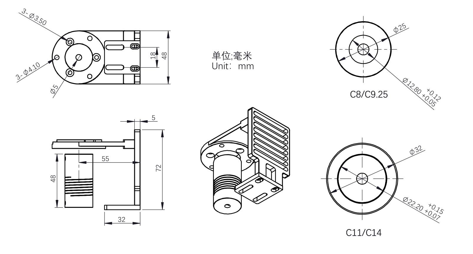 Mechanical Diagram-ZWO-EAF-SCT-Bracket